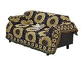 Icegrey Sonnenblume Blau Sofaüberwurf mit Quasten Couch Überwurf Decke Wurfdecke Sofa Stuhl Bezug Tischdecke Tagesdecke Kuscheldecke 250 x 220 CM
