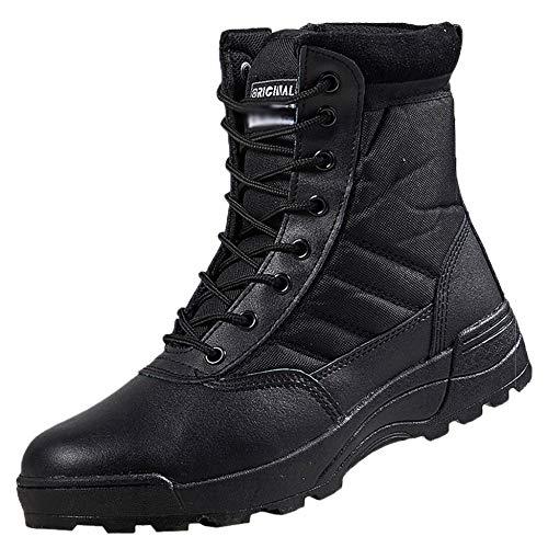 Souy Herren Damen Army Military Boots High-Top-Arbeit Utility Footwear Combat Tactical Boots Im Freien Desert Boots Klettern Wandern Camping Schuhe,Black-39 Tactical Military Boots