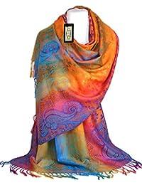 GFM Silky Feel Pashmina estilo Bufanda en flores y hojas (qx-frllvs)