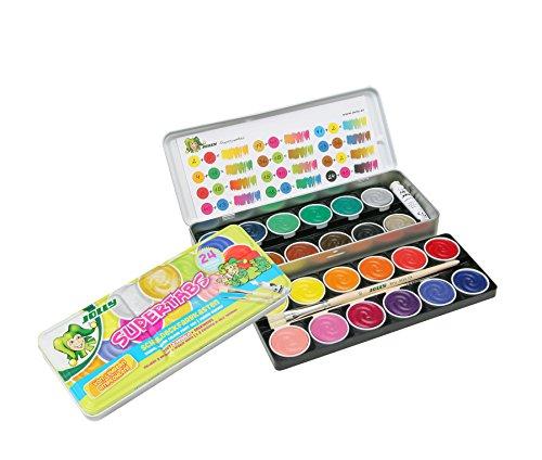 Jolly Supertabs   Deckfarbkasten, Farbkasten   24 Farben inkl. zwei Pinsel und Deckweiß im Metalletui