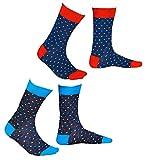 vitsocks Bunte Socken für Herren, Polka Dots, GEKÄMMTE NATUR BAUMWOLLE, JOY (43-46, 2er Set - Grau und Jeans Blau)