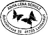 Stempel Personalisierter Adressstempel im Poststempel-Look mit Schmetterlingsmotiv