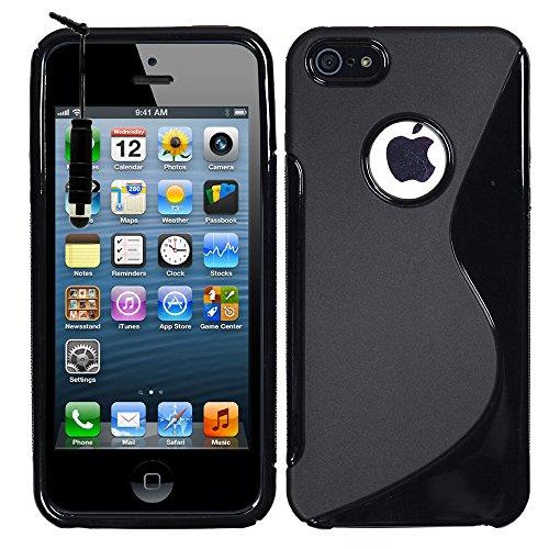 VComp-Shop® S-Line TPU Silikon Handy Schutzhülle für Apple iPhone 5/ 5S/ SE + Großer Eingabestift - TRANSPARENT SCHWARZ + Mini Eingabestift