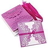 20x Violet Cartes d'invitation mariage Invitation Einladung Carte d'invitation de mariage avec enveloppes & nœud Pour décoration d'anniversaire baptême fête...