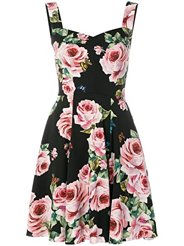 Dolce E Gabbana Damen F67v5tfsat4hnh41 Schwarz Seide Kleid (Gabbana & Dolce Damen-kleider)