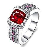 AllRing - Anillo de plata S925 para mujer, anillo de plata con cristales de corindón rojo de lujo, anillo de boda elegante regalo para mujeres y niñas 6 plata