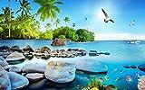 Fototapete Vlies Tapete 3D wallpaper Wanddeko Design Moderne Anpassbare Wandbilder Ästhetizismus 3D - Blick Aufs Meer Die Insel Tv Hintergrund