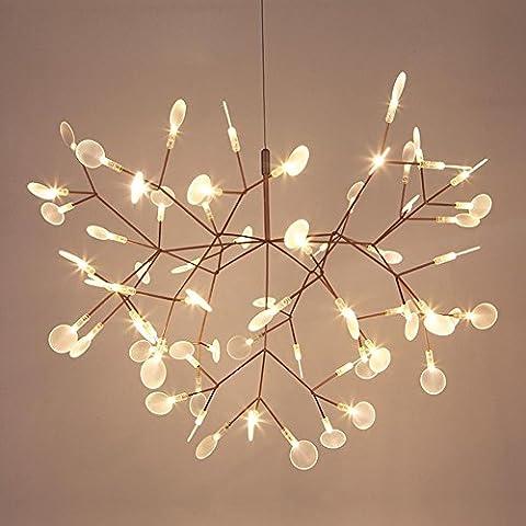 Postmoderne simple LED art lustre Creative lucioles branches pendentif lampes acrylique pour le salon restaurant et café , Blanc , 72cm