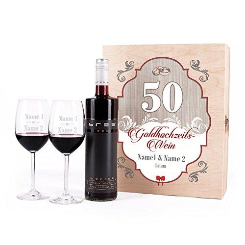 Leonardo Premium Geschenkset zur Goldenen Hochzeit mit 2 gravierten Gläsern und BREE Merlot