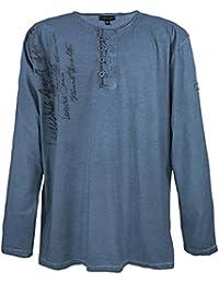 """Lavecchia Tee Shirt """"Classico"""" - manches longues - pour homme - grande taille - bleu"""