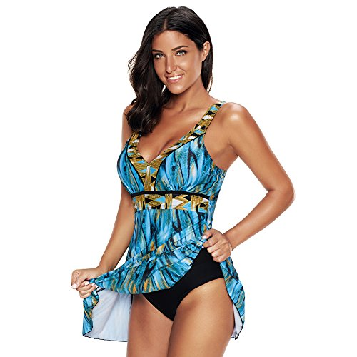 Lover-Beauty Damen Tankini Set Große Größen Badebekleidung Bauchweg Push up Bademode