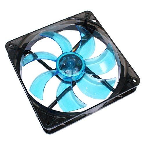 Cooltek 200400213 Silent Fan 140, Blue LED, 140mm x 140mm x 25mm Lüfter, Rifle-Bearing, 13,9 dBA, 900 U/min, 108,4 m³/h, 3-Pin Molex Anschluss