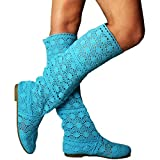 Yying Damen Sommer Stiefel Stiefeletten Flach Stickerei Hohe Stiefel, Sexy Mesh Schlupfstiefel, Slip-on Schuhe Boots Blau 40