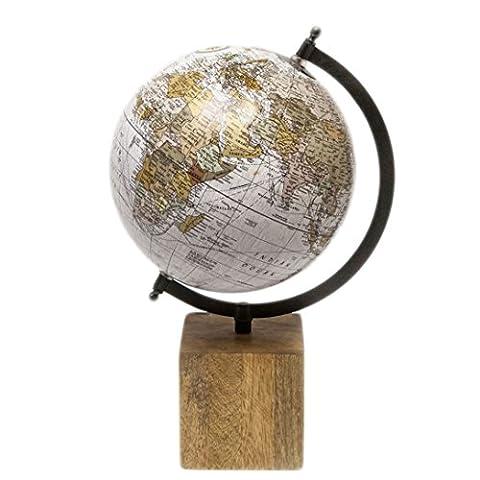 Globus Weltkugel Antik Stil Wandkarte Welt Weltkarte Vintage Historisch Holz Erde von Haus der