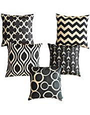 Kridhay Natura Life Cotton/Jute Multi Colored Decorative Hand Made Throw Pillow/Cushion Covers with HD Digital Print 16 inch x 16 inch (40 cm x 40 cm) -Set of 5