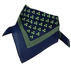 Navy Blue With Green 3-Dot & Stripes Bandana Neckerchief from Ties Planet