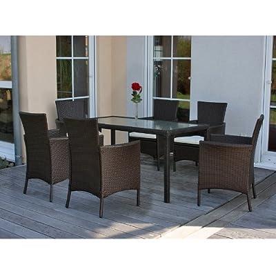 Garten-Garnitur Sitzgruppe ROM, Poly-Rattan, Tisch 150x80 cm + 6x Sessel m. Polster~ weiß
