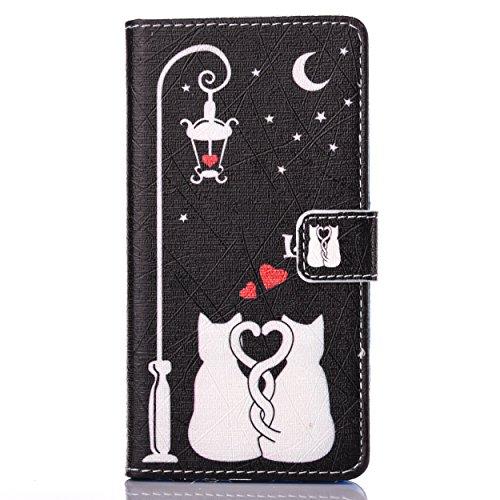 Cozy Hut Schutzhülle / Cover / Hülle / Handyhülle / Etui für Huawei P9 Bunt Muster Design Folio PU Leder Tasche Case Cover im Bookstyle mit Standfunktion Kredit Kartenfächer mit Weich TPU Innere - Tod Love Cats