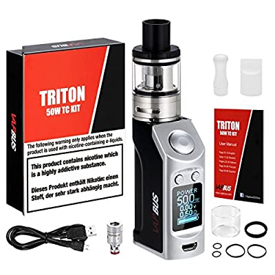 Ecig Vape Kit, TC 50W Box Mod E Cig, 1500mAh OLED Screen Box Mod E Cigarette Battery, VW/TC Mod Box No Nicotine