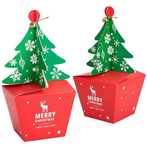 Geschenkboxen set weihnachten, 20 Stück karton Deko Plätzchen Geschenkbox mit 20 Stück Bogen und 20 Stück Glocken,DIY faltboxen Geschenk Kuchen Boxen Xmas Party Taschen Geschenk Dessert (large)