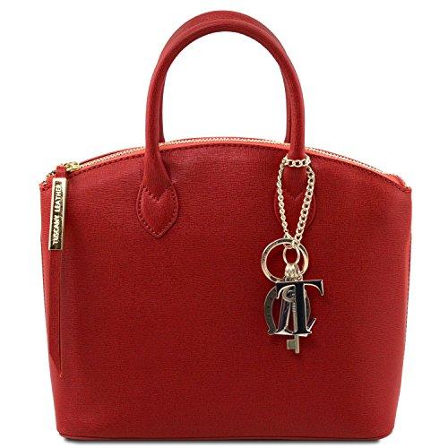 81412654-KL - TUSCANY LEATHER: TL KEYLUCK -N- Sac cabas en cuir Saffiano - Petit modèle, rouge