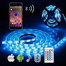 Tira LED de Bluetooth, ALED LIGHT 5050 16.4 ft/5 meter 150 Luz LED Teléfono inteligente controlado a prueba de agua RGB Tira de luz de tira para la decoración del hogar y al aire libre