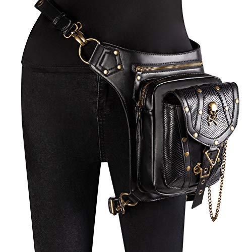 Steampunk Punk Handtasche, Gothic Skull Hüfttasche Beintasche Rock Messenger Bag für Frauen Männer viktorianischen Stil Leder Umhängetasche