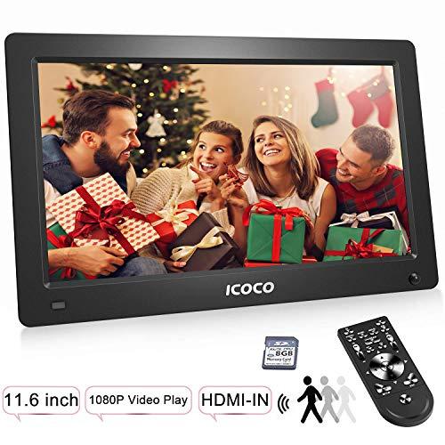 Digitaler Bilderrahmen 11.6 Zoll, OUTAD HD 1920*1080P IPS LCD Display mit Bewegungssensor/Kalender/Uhr Funktion, Foto/Video/Musik Player, Auto on/Off Timer, mit Fernbedienung 8G SD Karte