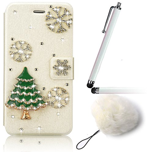 Vandot per iphone 8 Custodia in pelle Protettiva Flip Cover per iphone 8 Fiore Snap-on Magnetico Bookstyle PU Case,3D DIY Bling Bling Lusso Elegante Fantasia Shell + Hairball x 1 - Nero a forma di cuo Strass 34