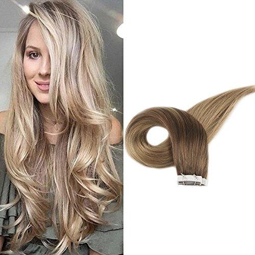 Full Shine #10 und #14 Ombre Extensions Echthaar Haarverlangerung PU Weft 16zoll/40cm Extensionsechthaar mit Tape Human Hair 50g 2.5g/pcs -