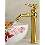 European Gold Faucet Table Basin Faucet Rotate The Copper Faucet