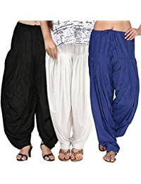 Rooliums (Brand Factory Outlet) Full Patiala Cotton Salwar Combo 3 Free size (Black, White and Blue)