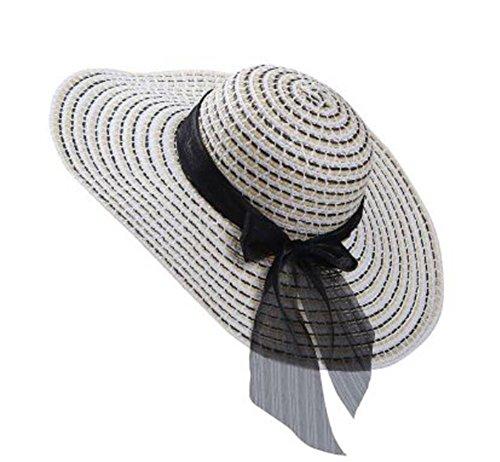 Demarkt Damen Sonnenhut Anti-UV Strandhut Sommerhut Damen Strohhut mit breiter Krempe und Bowknot faltbar für Damen Mädchen Urlaub Party Reise