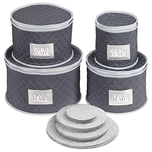 mDesign Juego de 4 cajas de embalaje para vajilla - Organizador de platos para cubrir y transportar vajilla para 12 personas - Sistema de almacenaje con protectores de fieltro - azul marino/gris