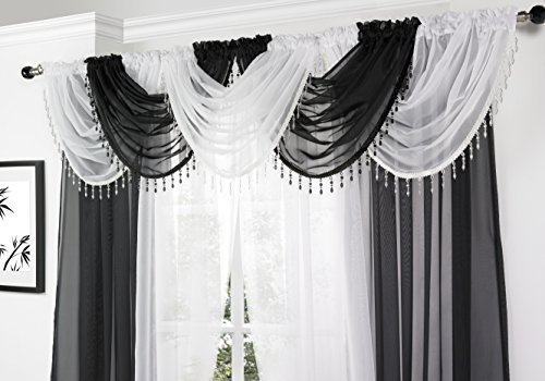White Voile Curtain Swag with Cr...