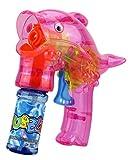 GYD Delfin Seifenblasenpistole SEIFENBLASEN Pistole mit LED! Seifenblasenmaschine Pink + 2X Seifenblasen Flasche im Set