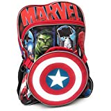 "Captain America Avengers Large 16"" Backpack With Detachable Lunch Bag Marvel Universerse"