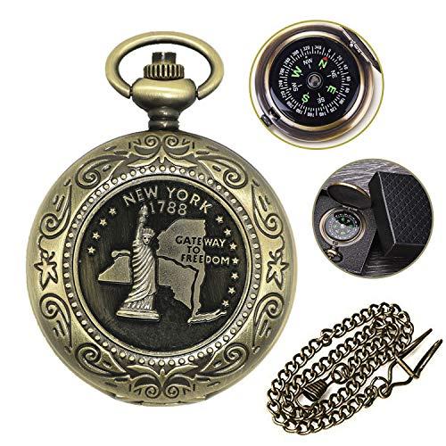 ARPDJK Wasserdicht Kompass Outdoor, Vintage Taschenuhr Kompass mit Kette, Flip-Open Portable Kompass Navigation mit Leuchtziffern für Abenteuer Camping Wandern, Geeignet für Erwachsene und Kinder