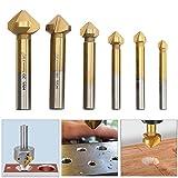 90° Kegelsenker Satz HSS 4241 Senker Entgrater Fasefräser Set mit Titan Beschichtet 6,3-20,5 mm 6 tlg für Holz und Weichem Metall