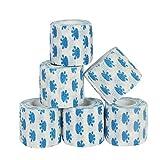 6 Stück weißer Hundeverband mit blauem Pfotendruck kohäsive Bandage Fixierbinde