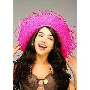 Sombrero-de-paja-rosa-brillante-hawaiano-adulto-de-Hula