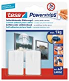 tesa UK Powerstrips Picture Hook with Removable Adhesive Strips - White, 2 Hooks