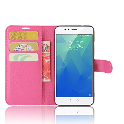"Meizu M5S Custodia, SMTR Meizu M5S (5.2"") Wallet Case Cover Leather Flip Cover Magnetic closing Anti-Shock Function with Stand - Rose"