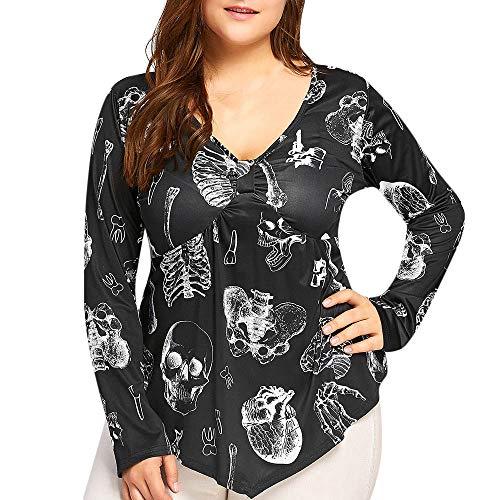 GOKOMO Frauen Halloween V-Ausschnitt Taro Printed Hem Unregelmäßiges Hemd Bluse Large Size Hoodie Langarm Pullover Mantel Tops, (Mechaniker Kostüm Frauen)