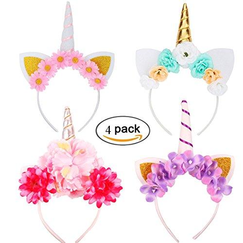 Newin Star Einhorn Haarband, 4 Stück Bunter Einhorn Haarreif Mädchen Haarschmuck für Alltäglichen Gebrauch, Kostüm Party, Karneval, Halloween,usw. (Zufällig)