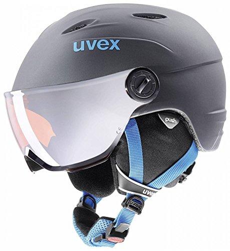 UVEX Kinder Junior Visor Pro Skihelm, Titanium-Blue Mat, 54-56 cm