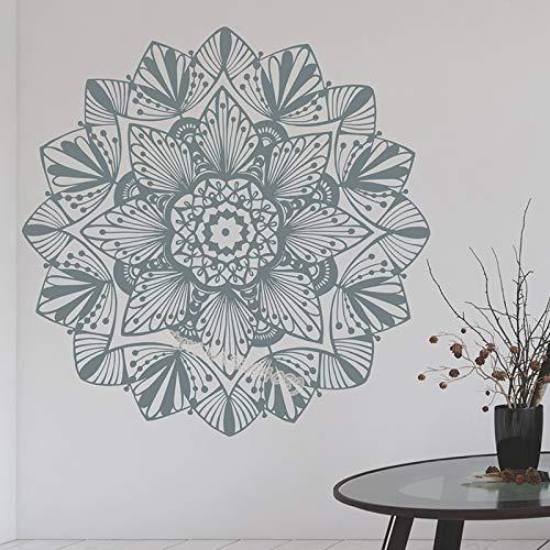 Lotus Mandala Vinyl Wandaufkleber Böhmischen Einzigartige Blume Wandkunst Aufkleber Dekor Yoga Studio Home Schlafzimmer Wohnzimmer Wandbild 56 * 56 Cm (Home-yoga-studio)