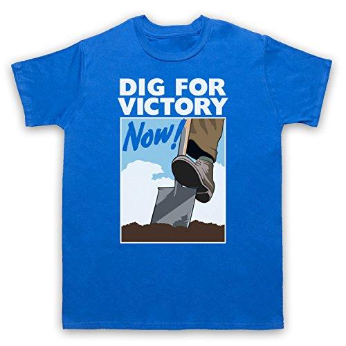 Dig For Victory Now World War 2 Slogan Herren T-Shirt Blau