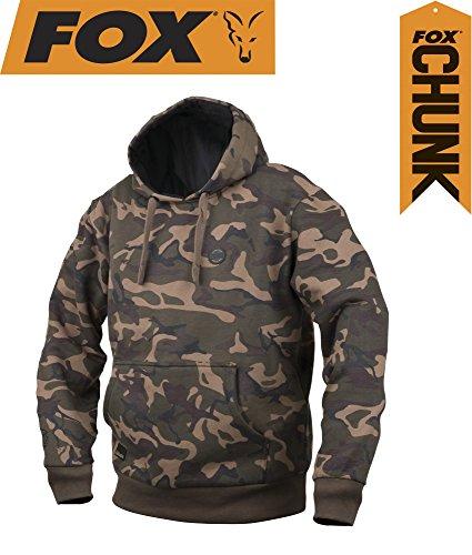 Fox Chunk Camo Lined Hoody Pullover, Angelpullover, Angelbekleidung zum Karpfenangeln, Pulli, Sweatshirt, Kapuzenpullover, Hoodie, Größe:M