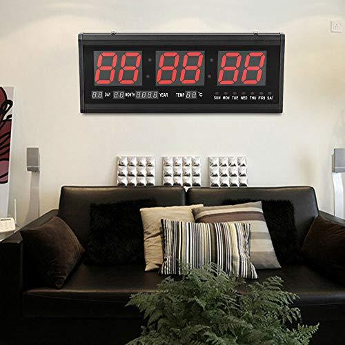 DiLiBee LED wanduhr Digitaluhr Digital LED Wanduhr 24Hr Uhr Digitaluhr-Beleuchtung im Rot mit Datum-Temperatur-Wohnzimmer Küchuhr
